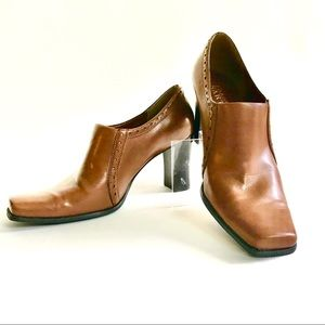 Franco Sarto Brown Square Toe Ankle Boot Heels 7.5